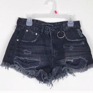 NWT Zara black denim shorts size 2